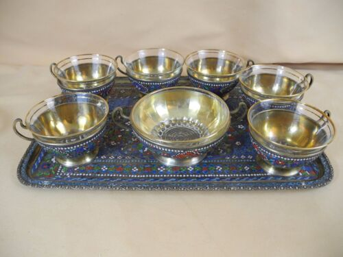 Antique Persian Enameled Silver Tea Set of 6 with Tray and Sugar Holder