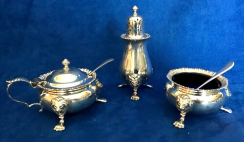 Antique Sterling Silver George V 3 Pcs Condiment Set William Suckling Birmingham