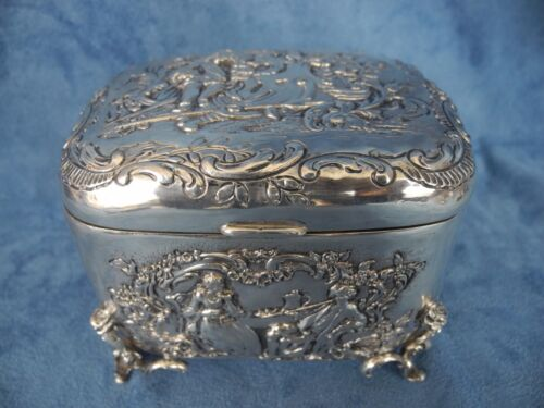 Antique Sterling Silver Victorian Repousse Box Lovers Scene Roses leg