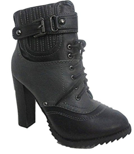 CENTRO Black/ Grey Buckle & Lace Tall Ankle Boots