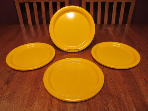"4 Vintage Mid Century Ingrid Ltd Chicago Yellow Melamine 10"" Dinner Plates"