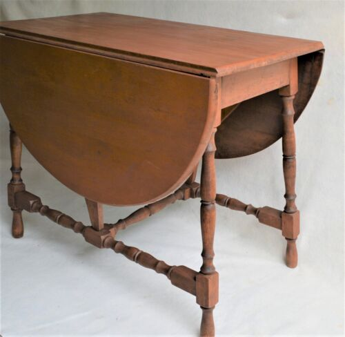 ANTIQUE AMERICAN COLONIAL STYLE ENGLISH DROP LEAF BUTTERFLY TABLE FARMHOUSE