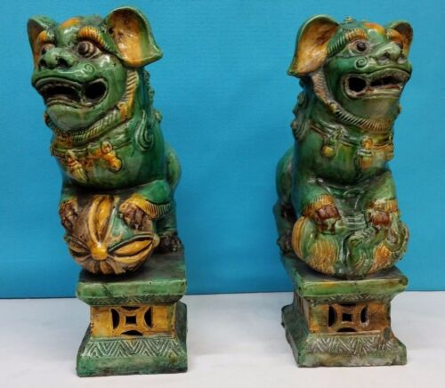 CHINESE FOO DOGS - Yellow & Green shades