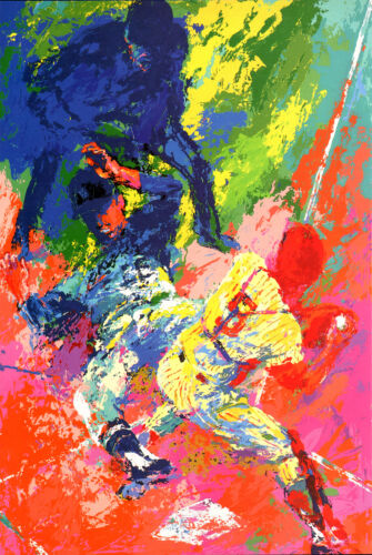 "LEROY NEIMAN BOOK PLATE PRINT ""SLIDING HOME"" BASEBALL SCENE AT HOME PLATE"