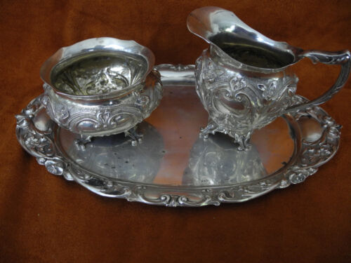 ANTIQUE 800 REPOUSSE SILVER GERMANY 3 PIECES SUGAR,  CREAMER, & TRAY