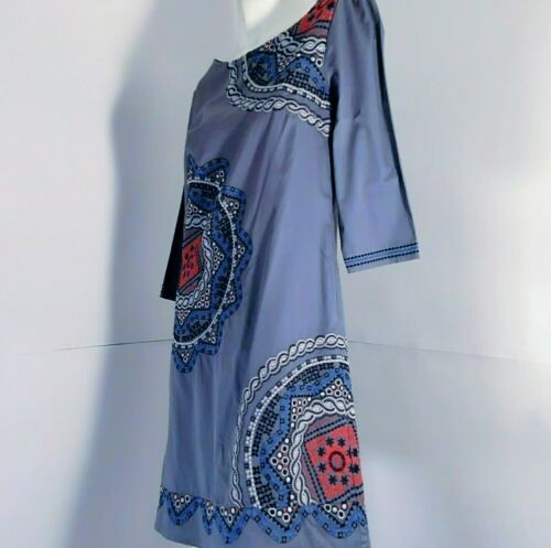 MONSOON woman tunic/suit embroidered grey lead pre-loved 100%cotton 3/4 sleev 10