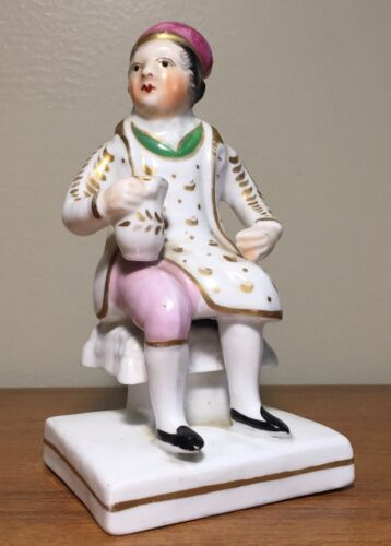 Antique 19th c. Staffordshire Porcelain Figure of Seated Man with Vest & Grog
