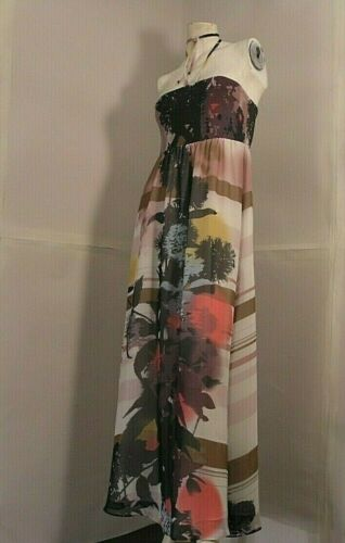 """MONSOON woman full length dress """"get the sun"""" curled up floral print summer sz S"""