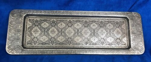 Antique 84 Silver Tray Islamic,  Middles East Chased, Signed