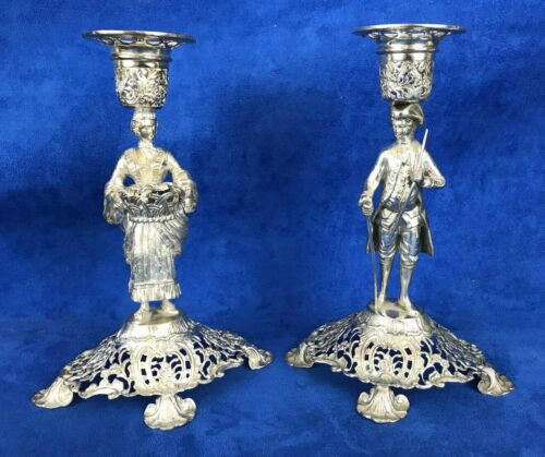 Pair of Stunning Antique 800 Silver Germany Candle Holder Man & Woman