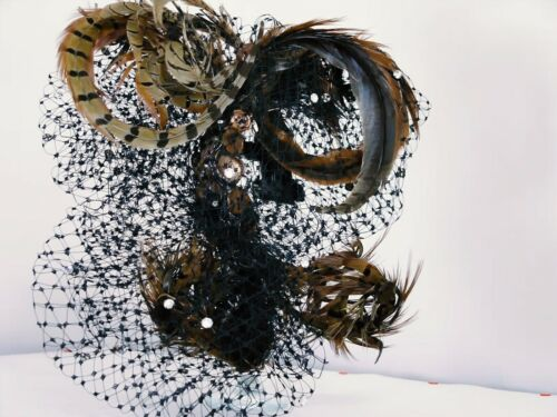 fascinator DRAMATIC ELEDA ghotic veils and pheasant feathers strass handmade tgu