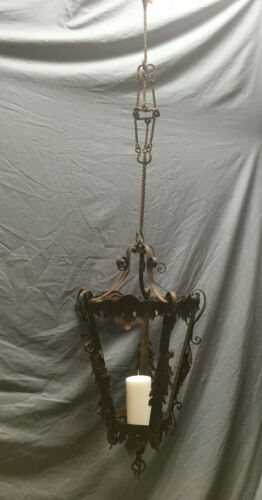 Vtg Garden Candle Light Fixture Chandelier Shabby Rusty Chic 155-19Lr