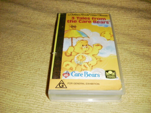 rare 3 Tales From The CARE BEARS 1992 VHS TAPE animated A Golden Book VIDEO PAL
