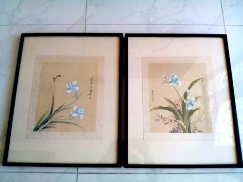 BEAUTIFUL ANTIQUE CHINESE HAND PAINTED 2 ORIGINAL PAINTINGS IGNED