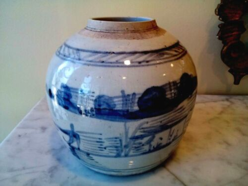 ANTIQUE CHINESE HAND PAINTED BLUE ON WHITE VASE SIGNED