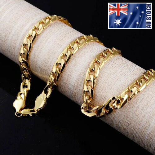 """Mens 18K Yellow Gold GP 10MM Classic Curb Chain Solid Heavy Link Necklace 24"""""""