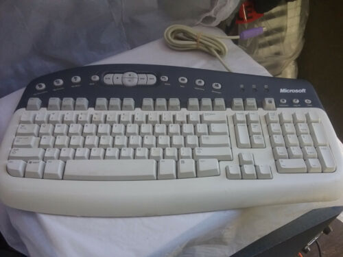 Microsoft Multimedia Windows PS/2 PS2 Wired Computer Keyboard KB-0168 Clean Good