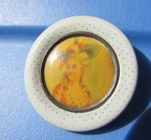 Antique Button Pictorial Victorian Steel Colonial Woman Pin Dot Fabric Picture
