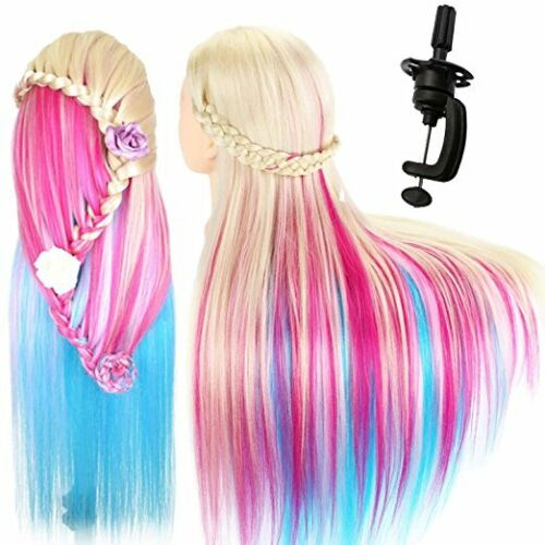"""26"""" Salon Home Hair Training Head Hairdressing Styling Mannequin Doll Multicolor"""
