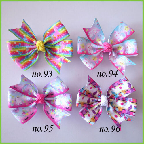 """2000 BLESSING Good Girl 3.25"""" Abby Hair Bow Clip Unicorn Accessories Wholesale"""