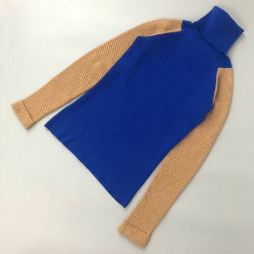Victoria Beckham Ladies Blue Wool Knit Roll Neck Jumper Sweater Pullover Size S