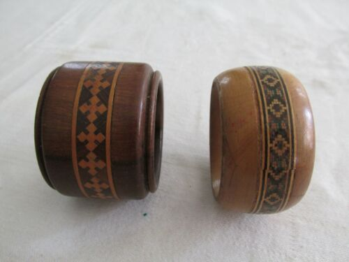 Two Antique Sorrento Ware Timber Inlaid Inlay Napkin Rings Ring Serviette Ring