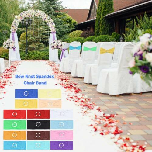 1pc Spandex Stretch Wedding Party Chair Cover Band Sashes W/buckle Bow Slider