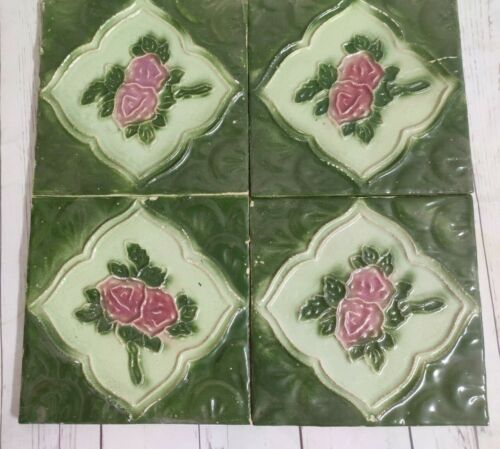4 Pcs. Vintage Majolica Decorative Floral Art Nouveau Architecture Tiles, Japan