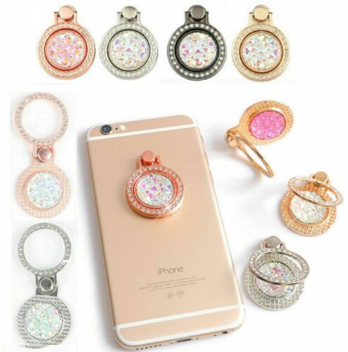 Finger Ring Grip Cell Phone Holder Stand Attachment Rotating Diamond Bling Cute