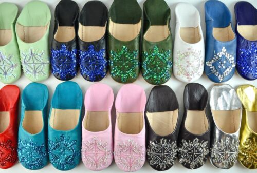 WOMENS MOROCCAN LEATHER SEQUIN BABOUCHE SLIPPERS SHEEPSKIN MULES **STAR DESIGN**
