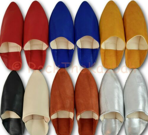 MOROCCAN LEATHER WOMENS POINTY BABOUCHE SHOES SLIPPERS SHEEPSKIN MULES SLIDES