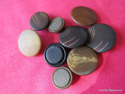 5147 – Nine Fabric Pad Back Composition Antique Buttons, Incl. 3 w Fabric Tops