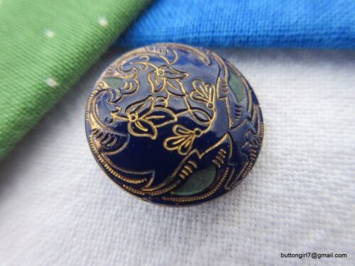 5170-D – Lovely Victorian Navy Blue Lacy Glass Antique Button, Gold Luster