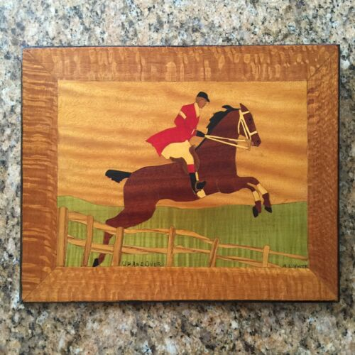 Michael L. White - Up And Over (Equestrian) - Handmade Inlaid Wood Folk Art
