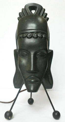 retro modern TV lamp primitive African tribal head mask black pottery metal wood