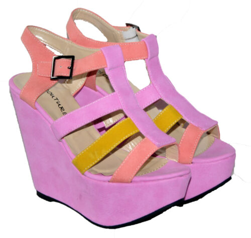 LADIES 5.5 INCH WEDGED MULTI COLOURED STRAPPY ANKLE STRAP SANDALS SIZES 3-8