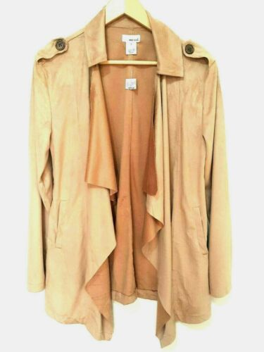 Wet Seal Brown Faux Suede Waterfall Drape Front Jacket Coat Pockets USA Size M