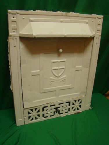ANTIQUE 1800'S CAST IRON WITH SUMMER TIN COVER GAS FIREPLACE INSERT SHIELD