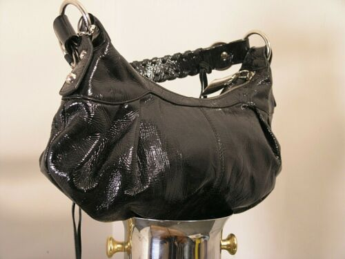 FRANCESCO BIASIA woman shoulder black painted leather bag NAPPA check lining med