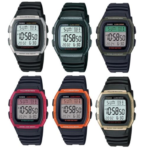 Casio W-96H Silver Gold Blue Red Orange Green Multi-Function 50m Digital Watch