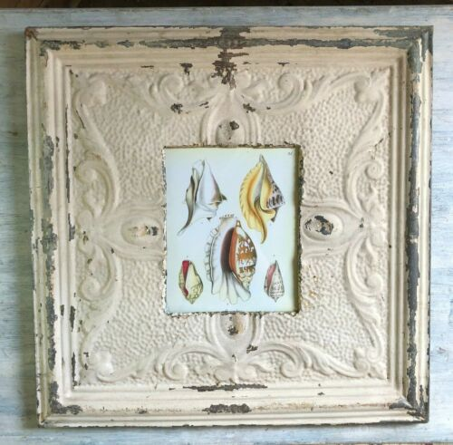 """23"""" x 23"""" Antique TIN CEILING Metal 8X10 Picture Frame Light Malt Recycled 98-19"""