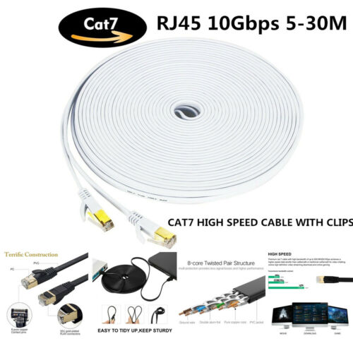 5M/10M/15M/20M/25M/30M 10Gbps Flat Shielded Cat7 Ethernet Network LAN Cable Cord