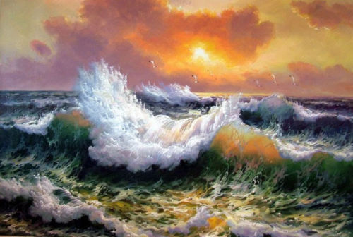 CHOP912 big ocean sea wave seascape&birds hand paint oil painting art on canvas