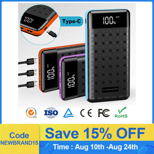 Portable 500000mAh LCD Power Bank External 3 USB Battery Charger For Cell Phone