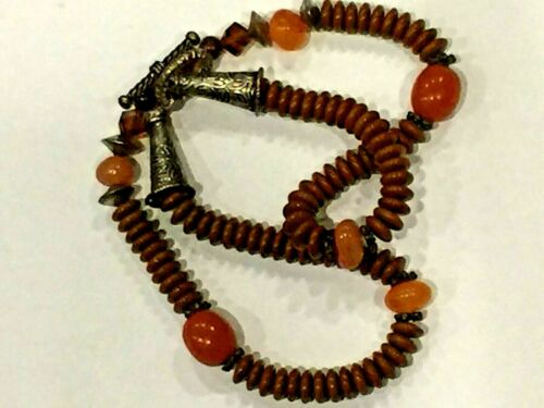 """ANTIQUE CHINESE NATURAL RED JASPER AMBER CRISTAL NECKLACE 18.5""""L"""