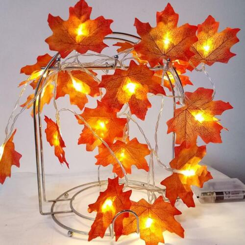 3/4m Led Lighted Fall Autumn Pumpkin Maple Leaves Garland Party Home Xmas Decor