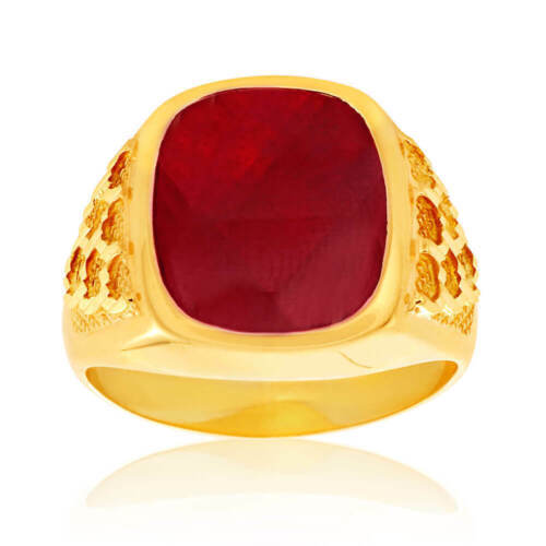 SHIELS 9ct Yellow Gold Created Garnet 14x12mm Gents Ring