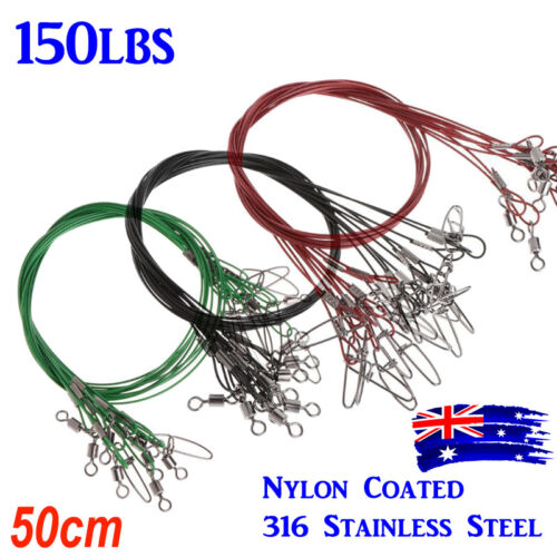 10Pc 50cm Fishing Trace Wire Lure Stainless Steel Wire Leader Fishing Line 150LB