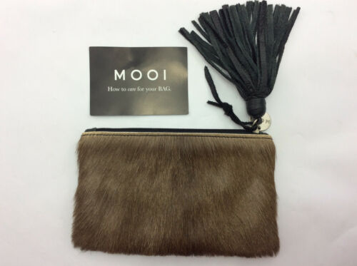 Small 'MOOI' leather & hair clutch handbag – made in South Africa