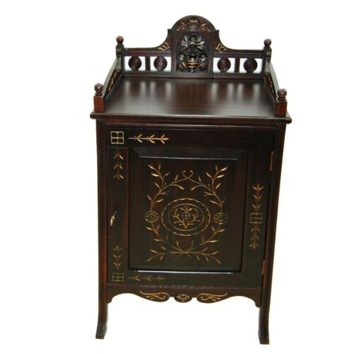 American Aesthetic Movement Rosewood and Cherrywood Gilt Incised Cabinet #7268